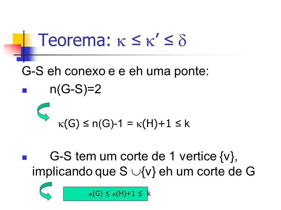 Teorema:  ≤ ' ≤  G-S eh conexo e e eh uma ponte: n(G-S)=2