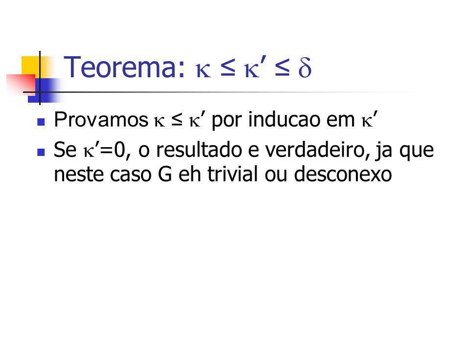 Teorema:  ≤ ' ≤  Provamos  ≤ ' por inducao em '