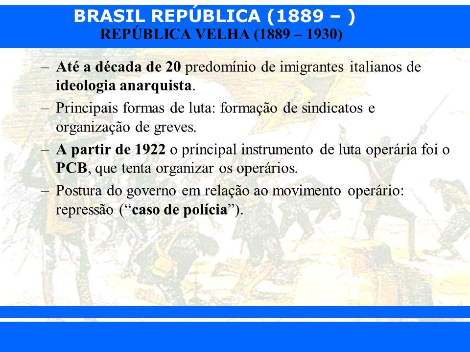 Até a década de 20 predomínio de imigrantes italianos de ideologia anarquista.
