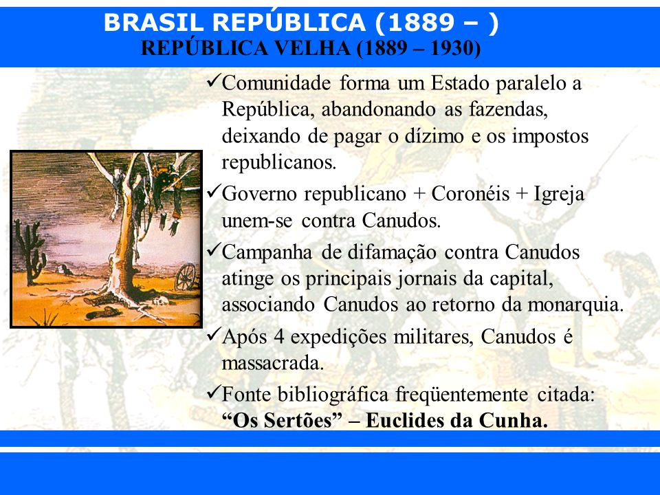 Comunidade forma um Estado paralelo a República, abandonando as fazendas, deixando de pagar o dízimo e os impostos republicanos.