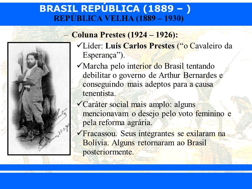 Coluna Prestes (1924 – 1926): Líder: Luís Carlos Prestes ( o Cavaleiro da Esperança ).