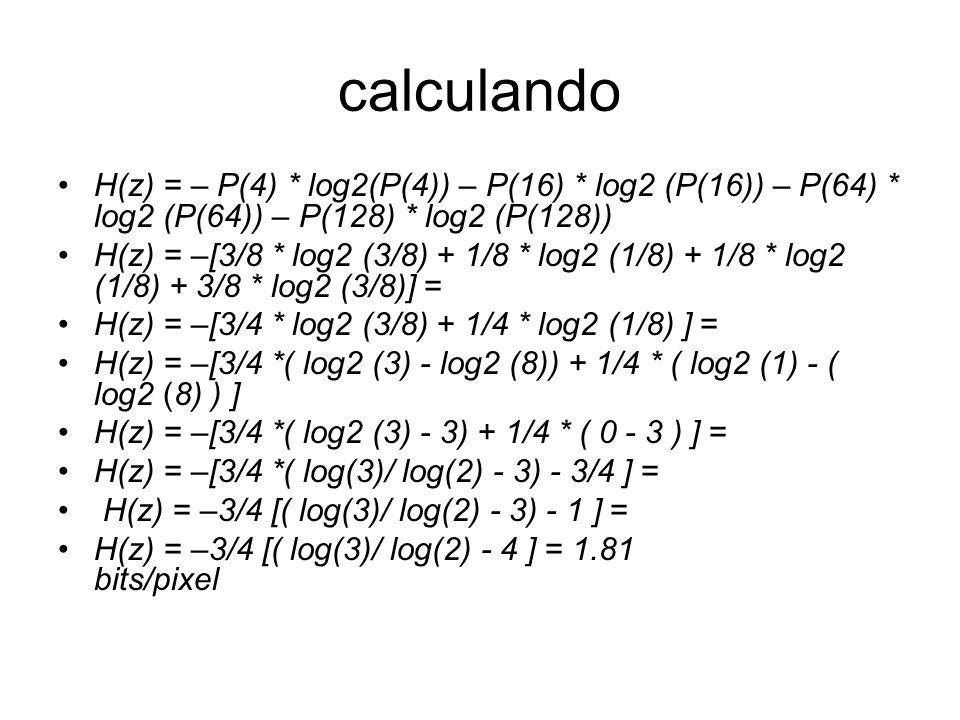 calculando H(z) = – P(4) * log2(P(4)) – P(16) * log2 (P(16)) – P(64) * log2 (P(64)) – P(128) * log2 (P(128))