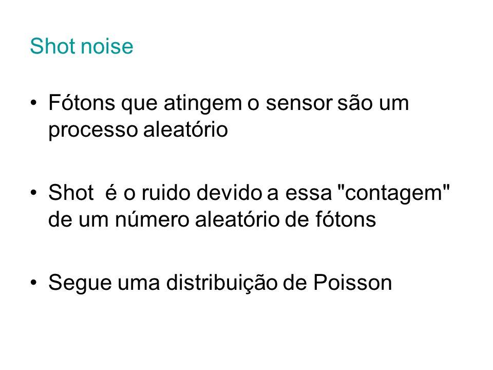 Shot noise Fótons que atingem o sensor são um processo aleatório. Shot é o ruido devido a essa contagem de um número aleatório de fótons.