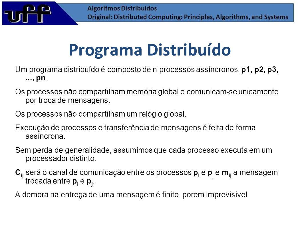 Programa DistribuídoUm programa distribuído é composto de n processos assíncronos, p1, p2, p3, ..., pn.