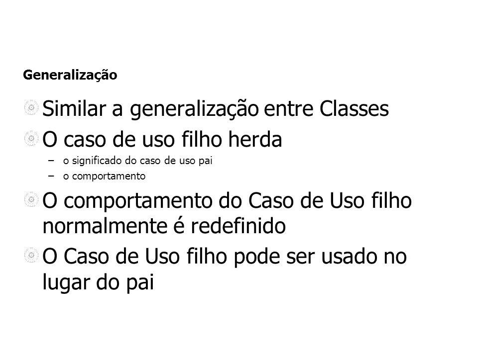 Similar a generalização entre Classes O caso de uso filho herda