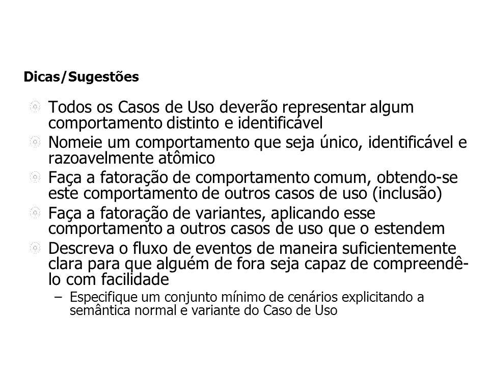 Dicas/Sugestões Todos os Casos de Uso deverão representar algum comportamento distinto e identificável.