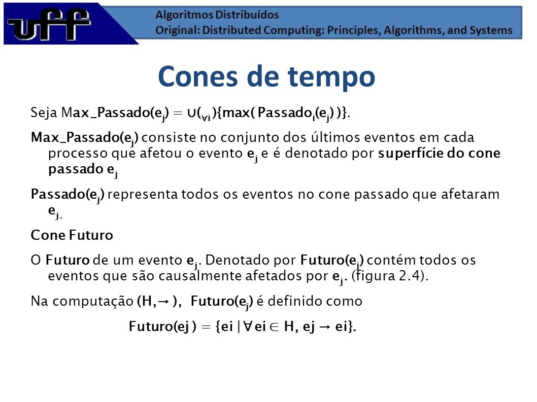 Cones de tempo Seja Max_Passado(ej) = ∪(∀i ){max( Passadoi(ej) )}.