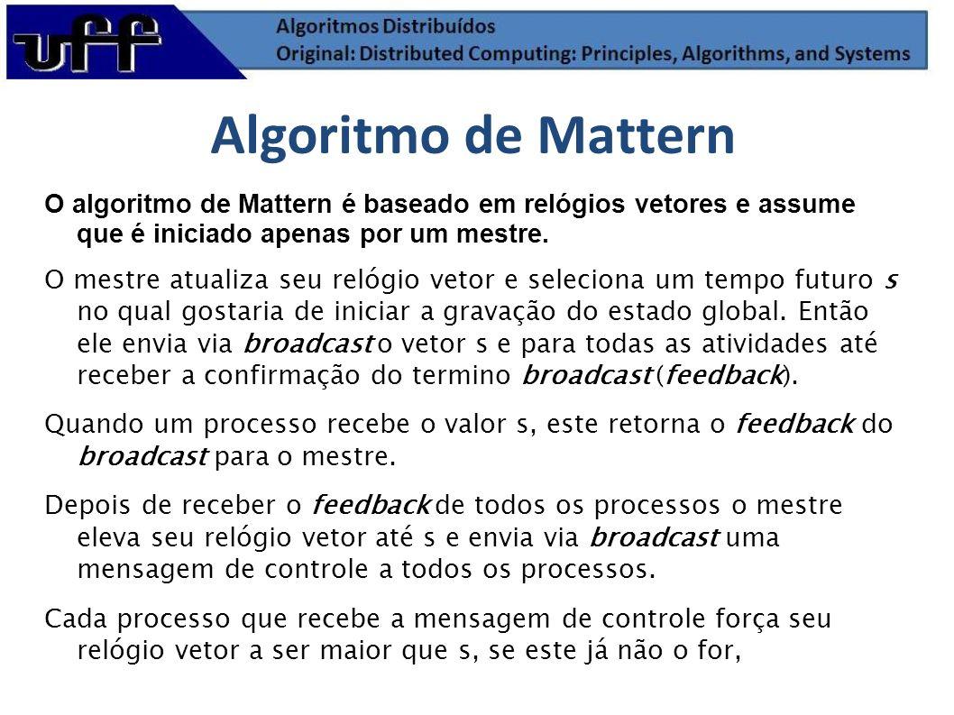 Algoritmo de Mattern O algoritmo de Mattern é baseado em relógios vetores e assume que é iniciado apenas por um mestre.