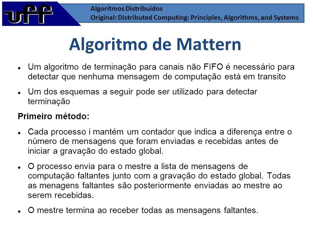 Algoritmo de Mattern Um algoritmo de terminação para canais não FIFO é necessário para detectar que nenhuma mensagem de computação está em transito.