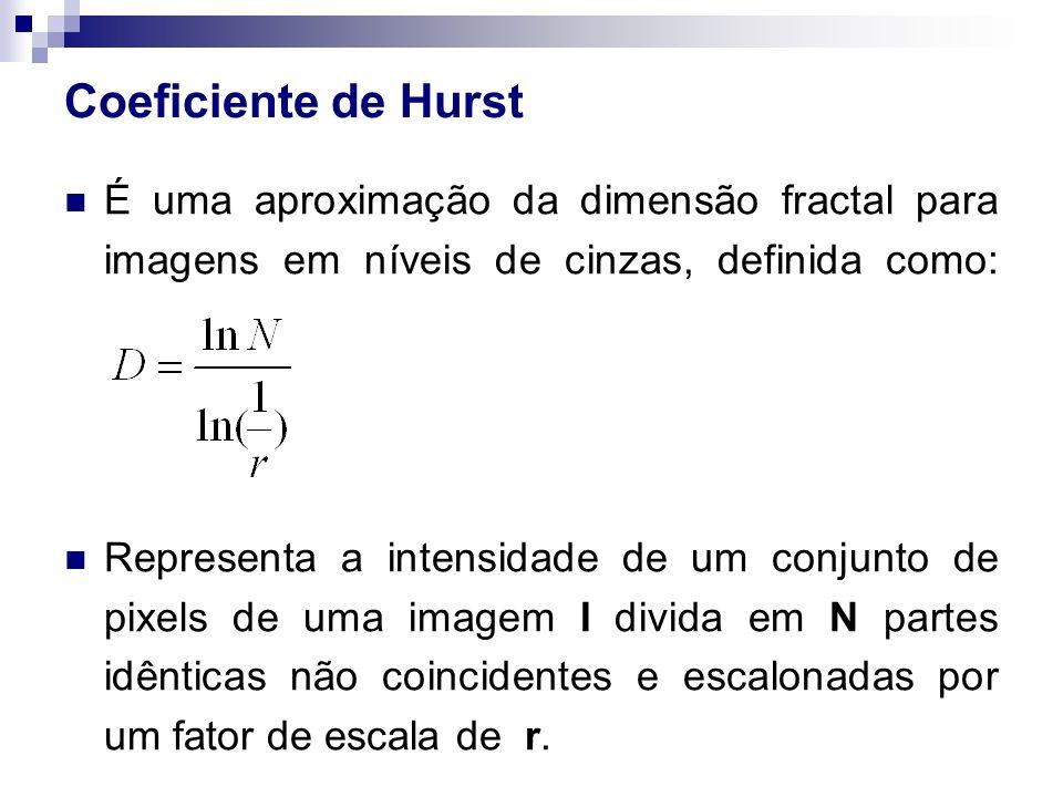 Coeficiente de Hurst É uma aproximação da dimensão fractal para imagens em níveis de cinzas, definida como: