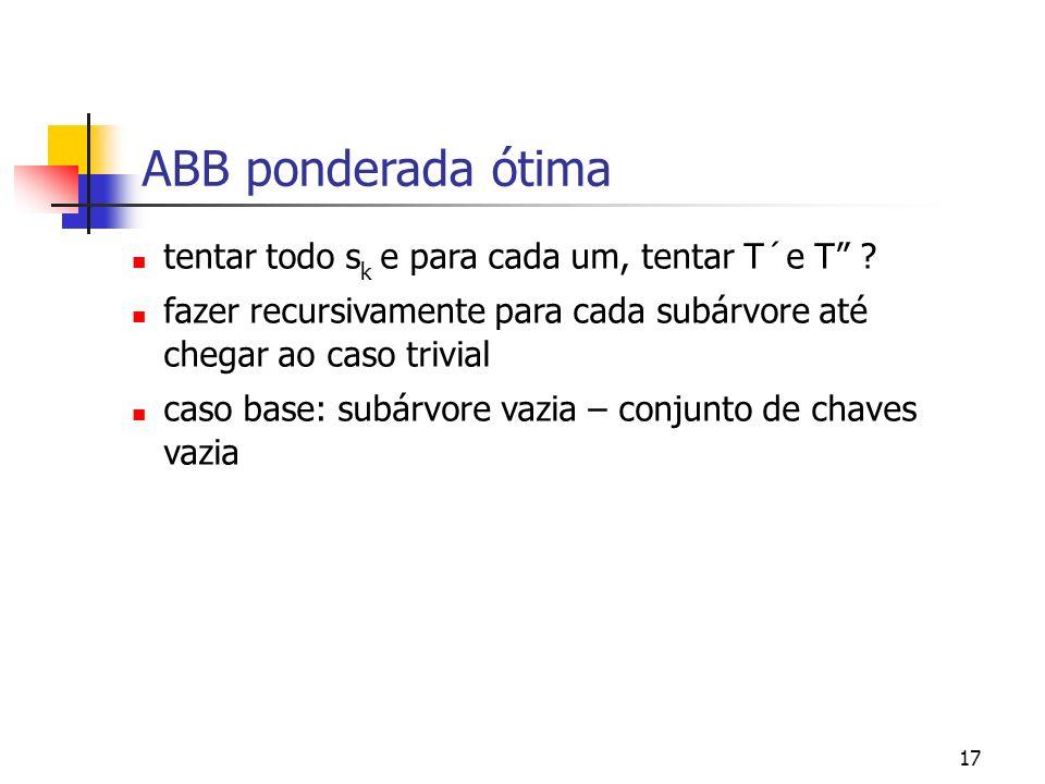ABB ponderada ótima tentar todo sk e para cada um, tentar T´e T