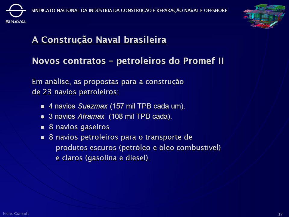 A Construção Naval brasileira Novos contratos – petroleiros do Promef II