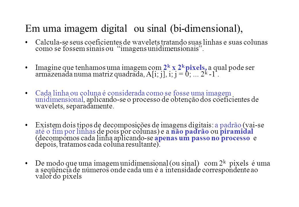 Em uma imagem digital ou sinal (bi-dimensional),