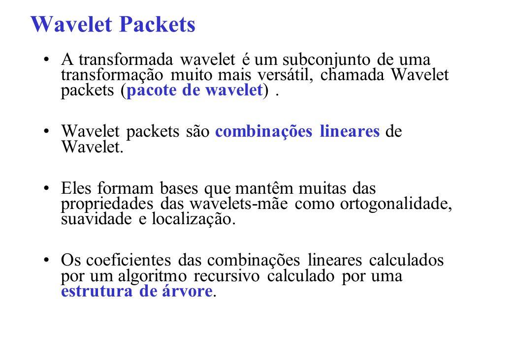 Wavelet Packets A transformada wavelet é um subconjunto de uma transformação muito mais versátil, chamada Wavelet packets (pacote de wavelet) .