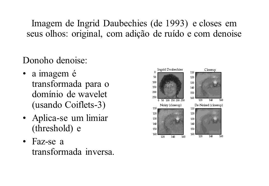 Imagem de Ingrid Daubechies (de 1993) e closes em seus olhos: original, com adição de ruído e com denoise