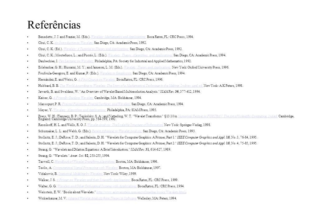 Referências Benedetto, J. J. and Frazier, M. (Eds.). Wavelets: Mathematics and Applications. Boca Raton, FL: CRC Press, 1994.