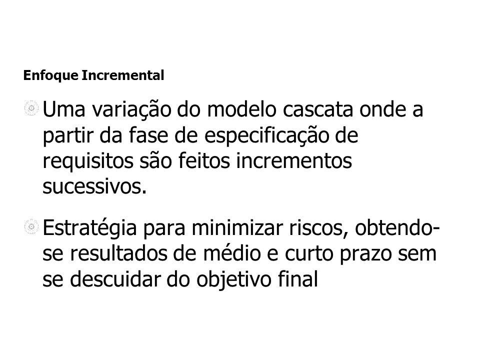 Enfoque Incremental Uma variação do modelo cascata onde a partir da fase de especificação de requisitos são feitos incrementos sucessivos.