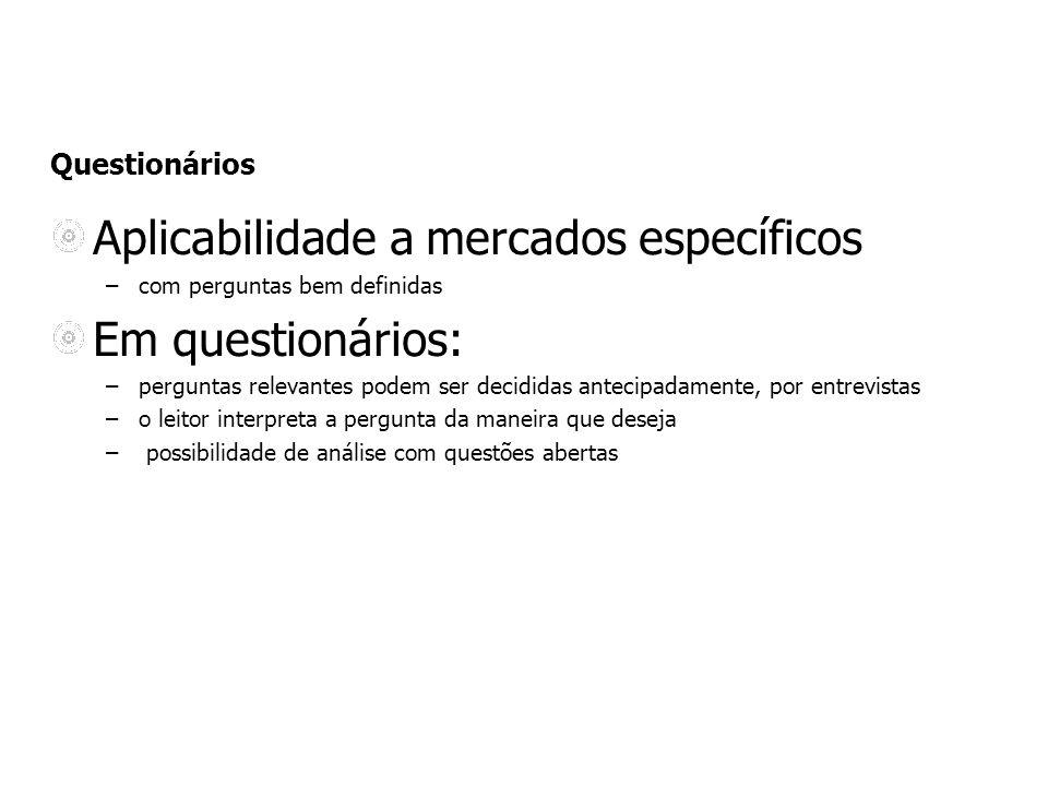 Aplicabilidade a mercados específicos Em questionários: