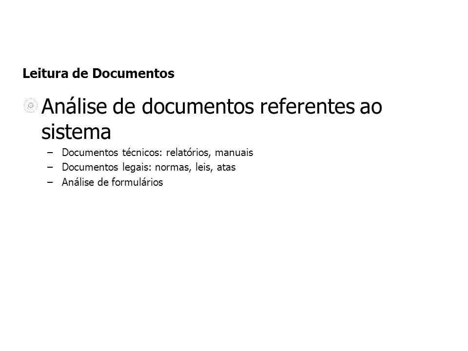 Análise de documentos referentes ao sistema