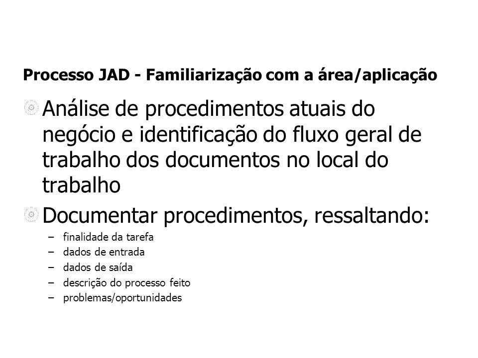 Processo JAD - Familiarização com a área/aplicação