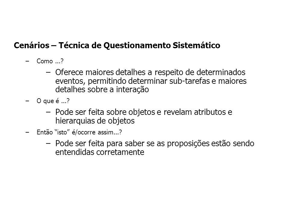 Cenários – Técnica de Questionamento Sistemático