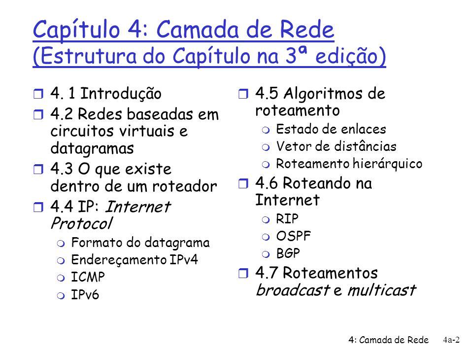 Capítulo 4: Camada de Rede (Estrutura do Capítulo na 3ª edição)