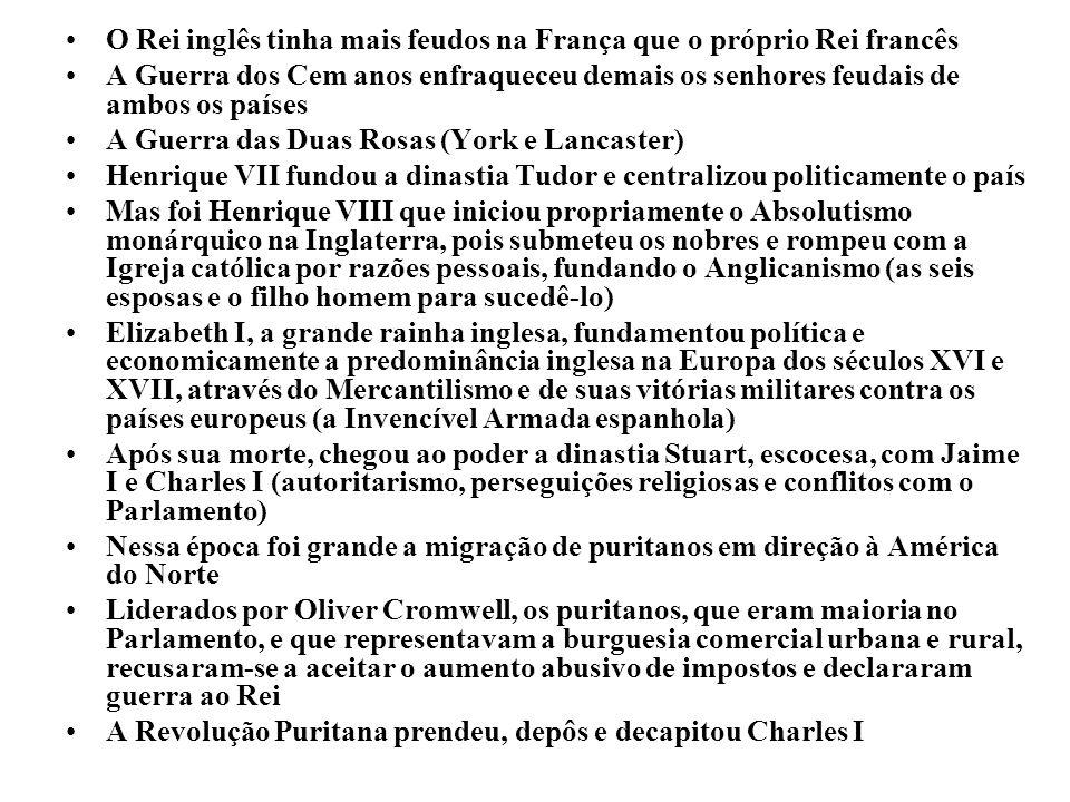 O Rei inglês tinha mais feudos na França que o próprio Rei francês