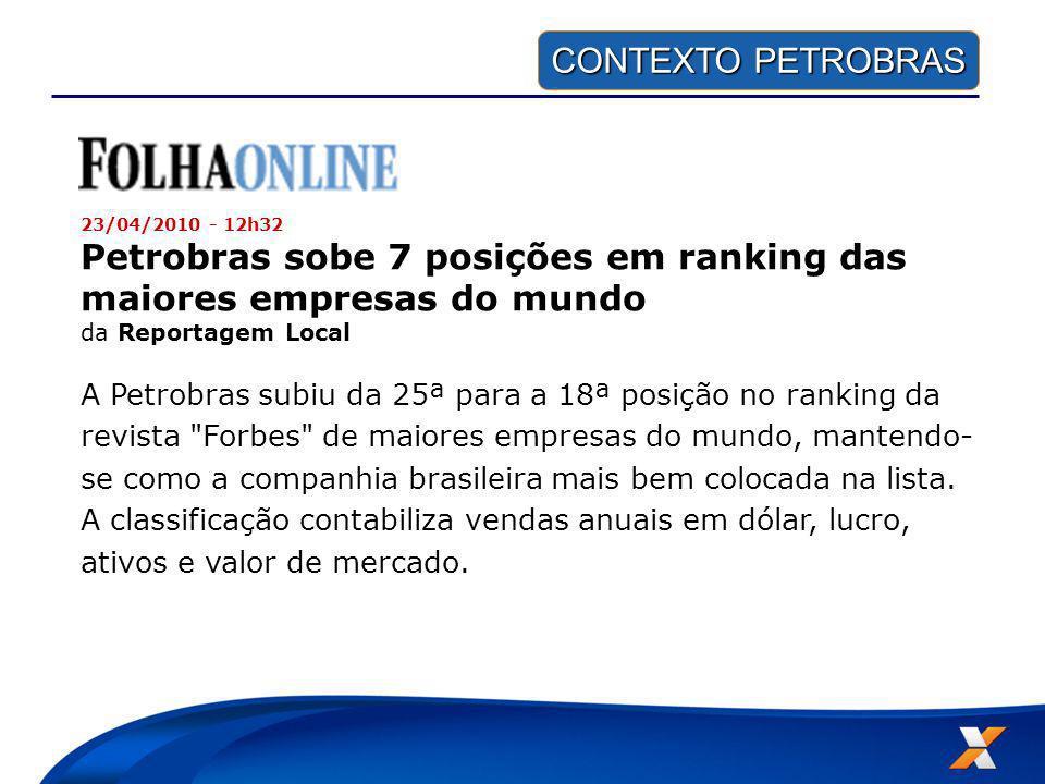Petrobras sobe 7 posições em ranking das maiores empresas do mundo