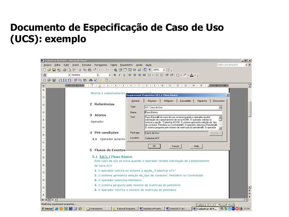Documento de Especificação de Caso de Uso (UCS): exemplo