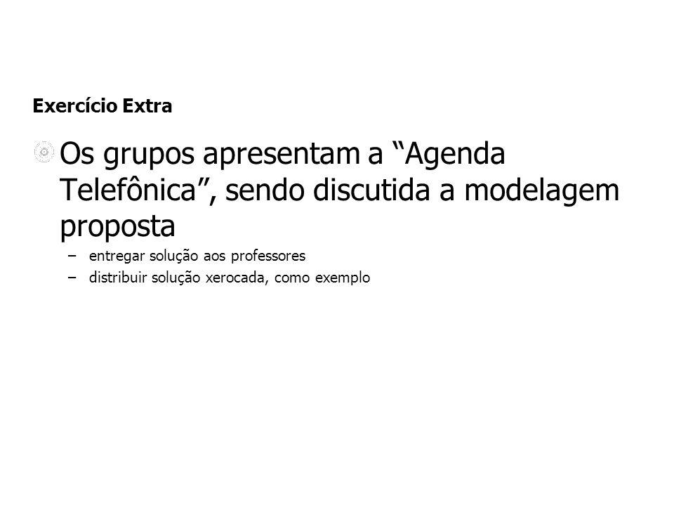 Exercício Extra Os grupos apresentam a Agenda Telefônica , sendo discutida a modelagem proposta. entregar solução aos professores.