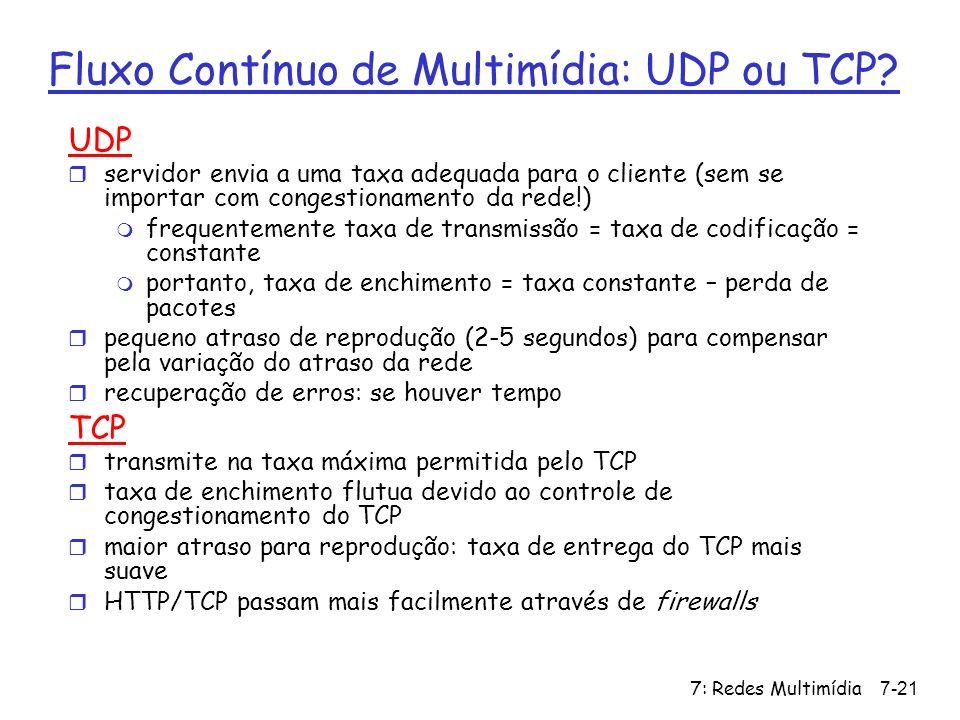 Fluxo Contínuo de Multimídia: UDP ou TCP