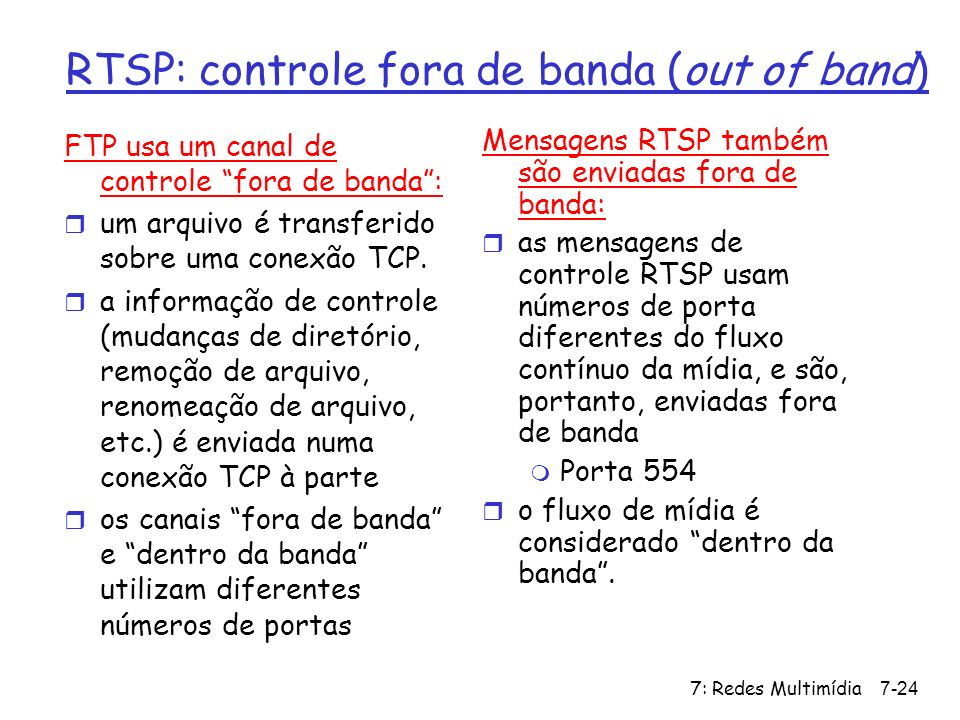 RTSP: controle fora de banda (out of band)