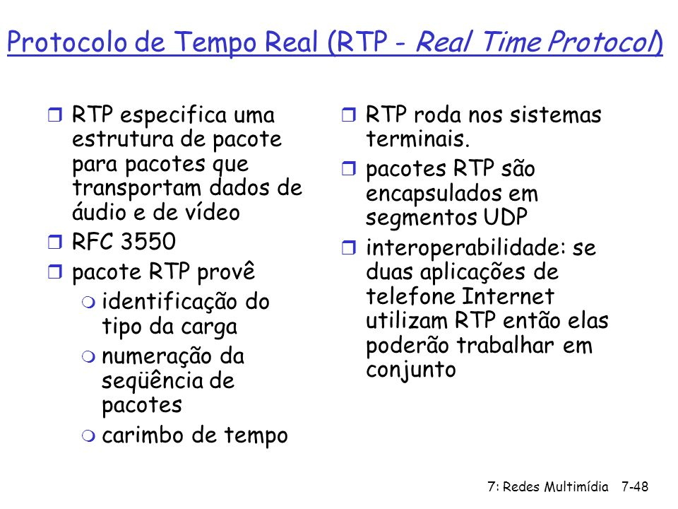 Protocolo de Tempo Real (RTP - Real Time Protocol)