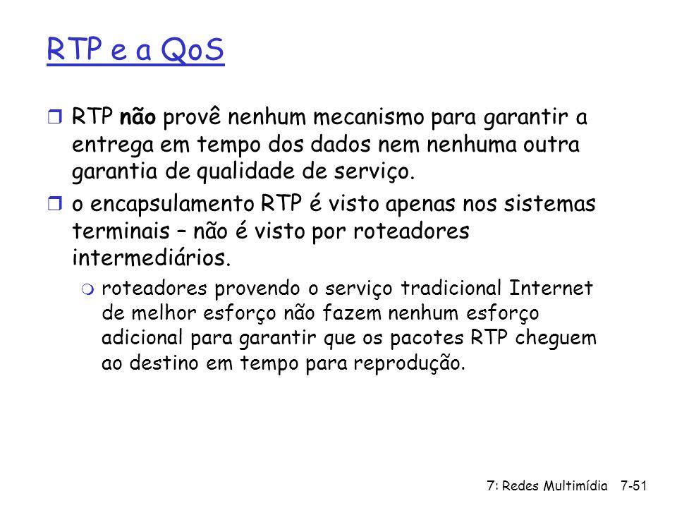 RTP e a QoS RTP não provê nenhum mecanismo para garantir a entrega em tempo dos dados nem nenhuma outra garantia de qualidade de serviço.