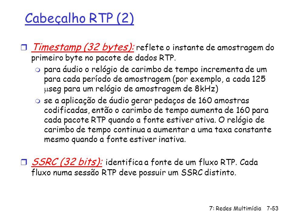 Cabeçalho RTP (2) Timestamp (32 bytes): reflete o instante de amostragem do primeiro byte no pacote de dados RTP.