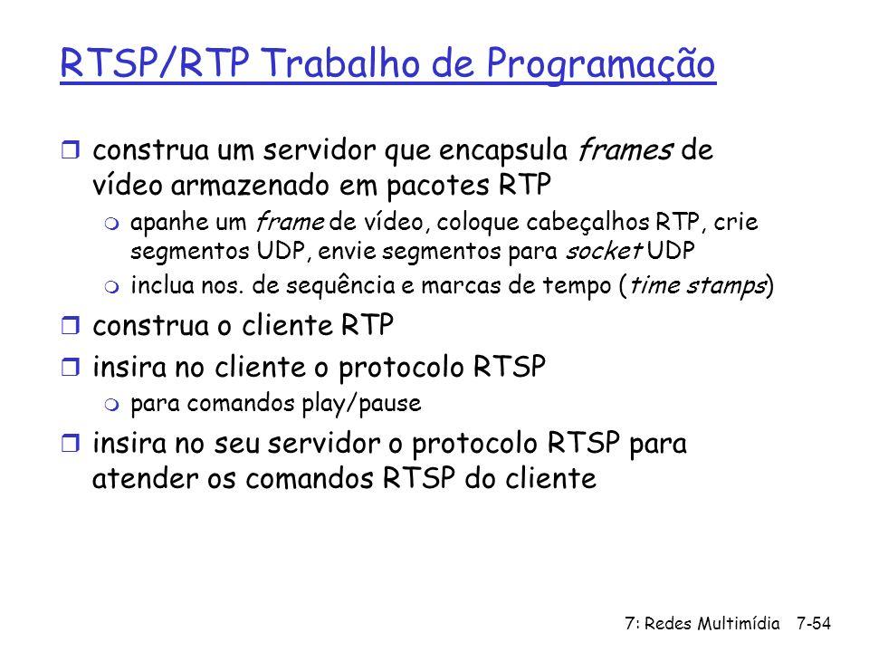 RTSP/RTP Trabalho de Programação