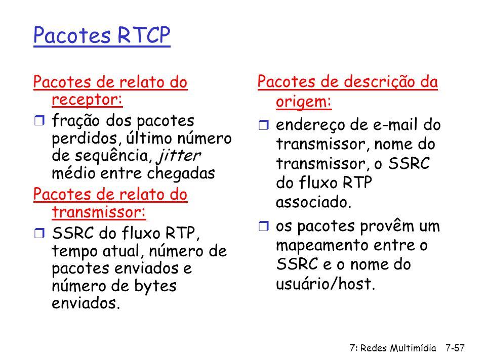 Pacotes RTCP Pacotes de relato do receptor: