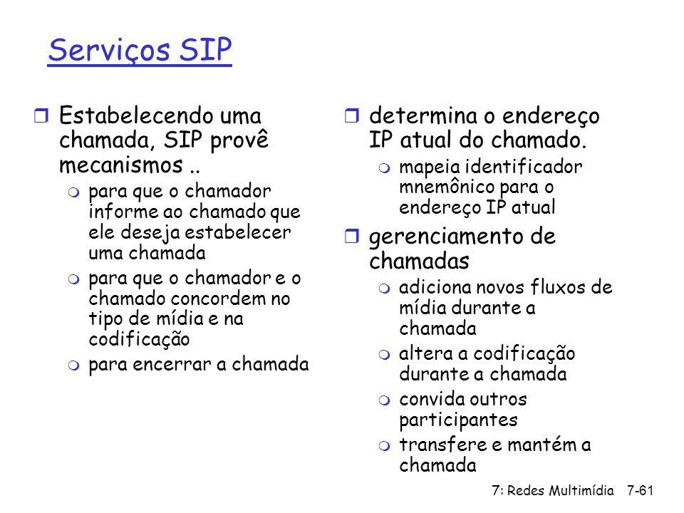 Serviços SIP Estabelecendo uma chamada, SIP provê mecanismos ..