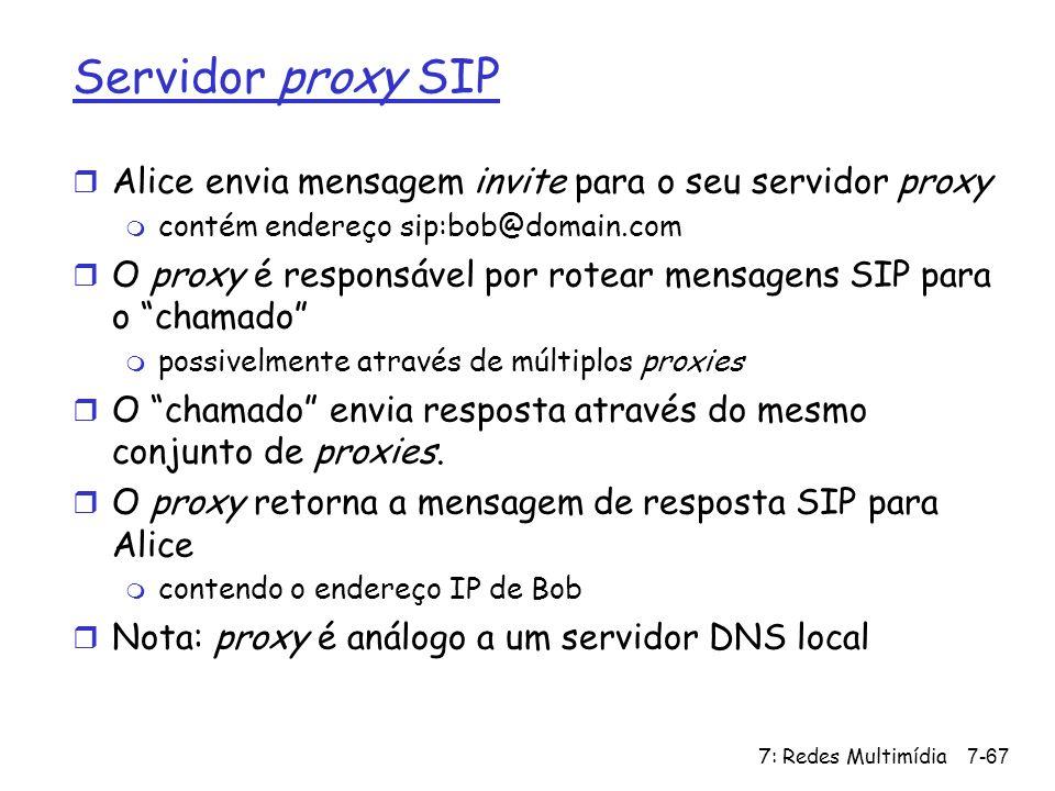 Servidor proxy SIP Alice envia mensagem invite para o seu servidor proxy. contém endereço sip:bob@domain.com.