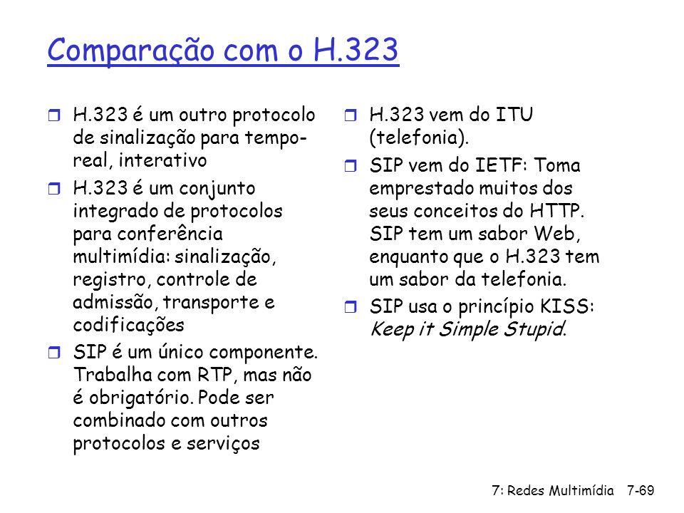 Comparação com o H.323 H.323 é um outro protocolo de sinalização para tempo-real, interativo.