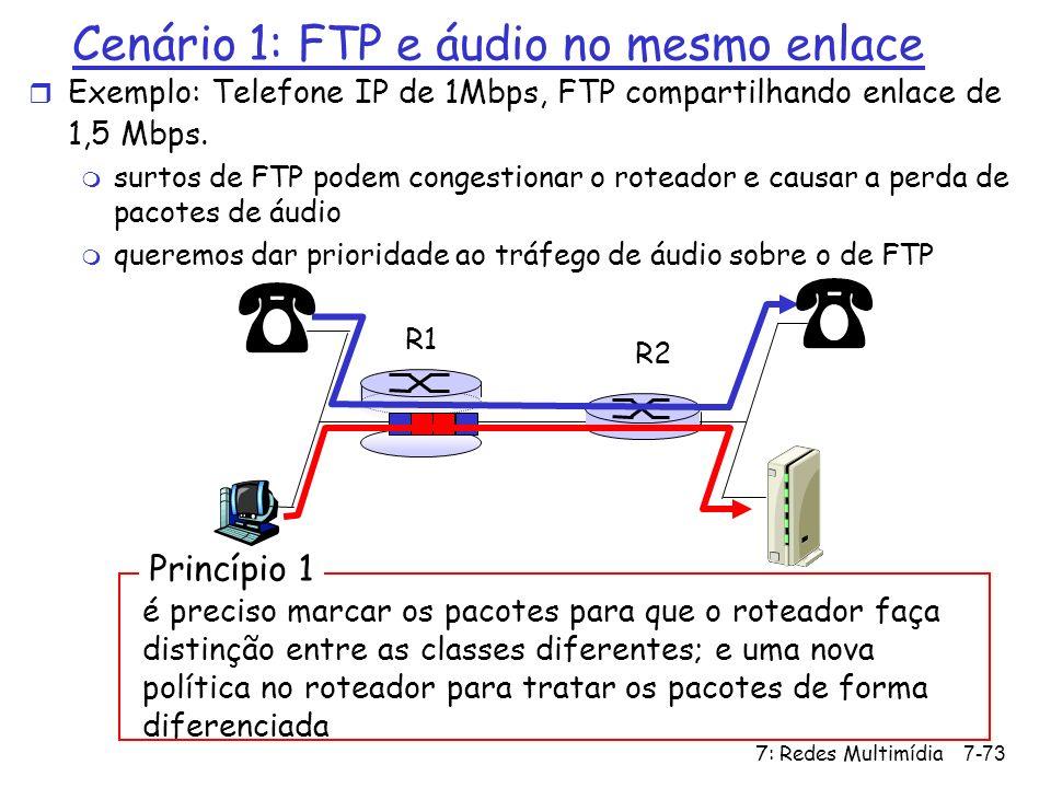 Cenário 1: FTP e áudio no mesmo enlace