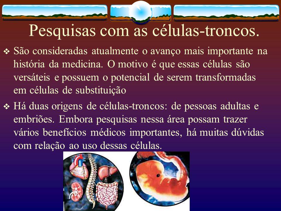 Pesquisas com as células-troncos.
