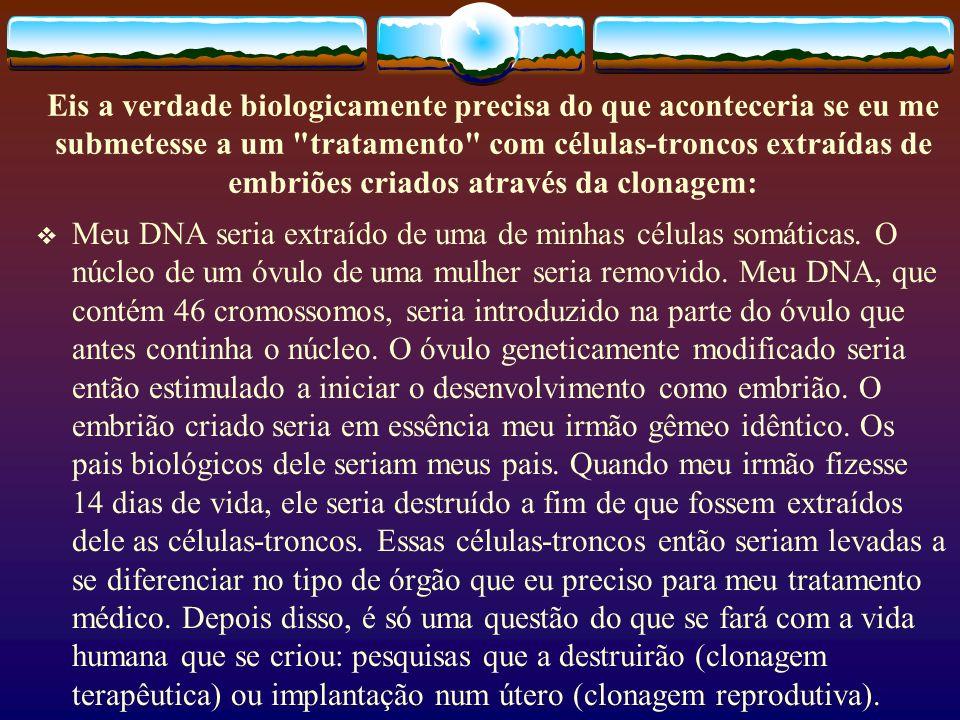 Eis a verdade biologicamente precisa do que aconteceria se eu me submetesse a um tratamento com células-troncos extraídas de embriões criados através da clonagem: