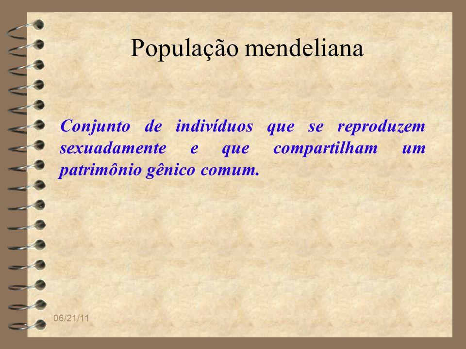 População mendeliana Conjunto de indivíduos que se reproduzem sexuadamente e que compartilham um patrimônio gênico comum.