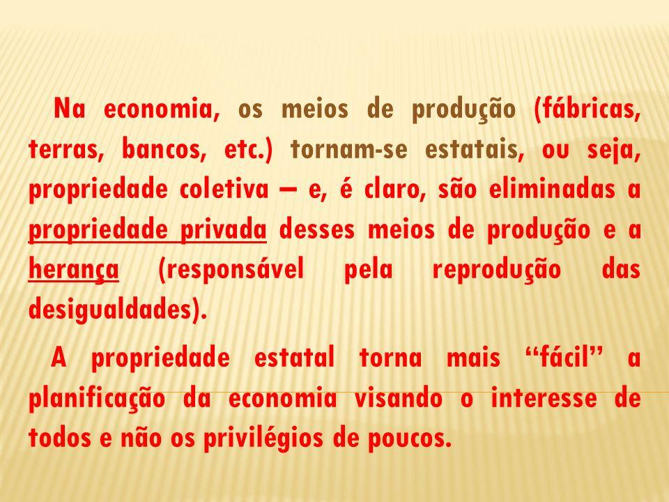 Na economia, os meios de produção (fábricas, terras, bancos, etc