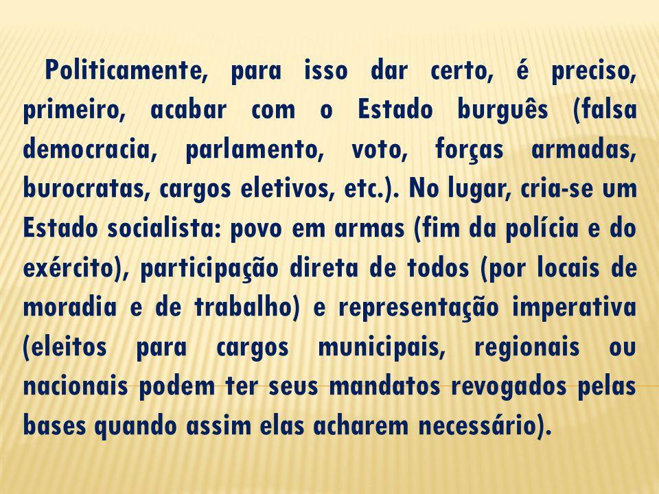 Politicamente, para isso dar certo, é preciso, primeiro, acabar com o Estado burguês (falsa democracia, parlamento, voto, forças armadas, burocratas, cargos eletivos, etc.).