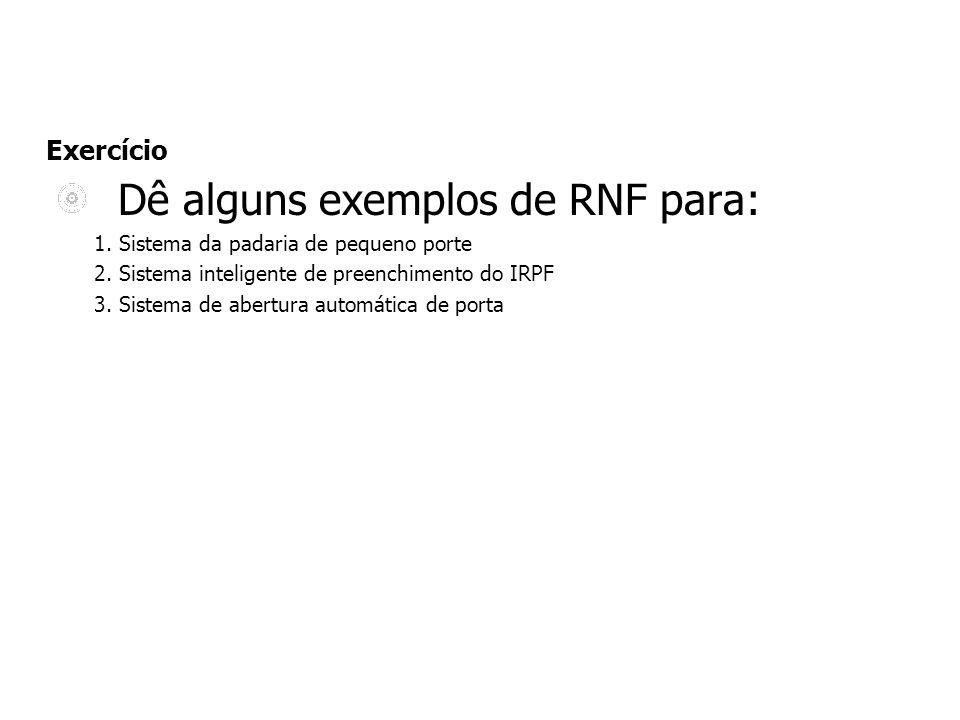 Dê alguns exemplos de RNF para: