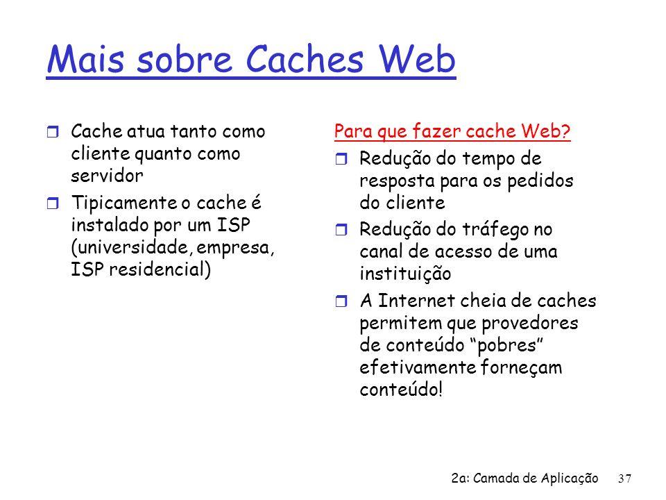 Mais sobre Caches WebCache atua tanto como cliente quanto como servidor.