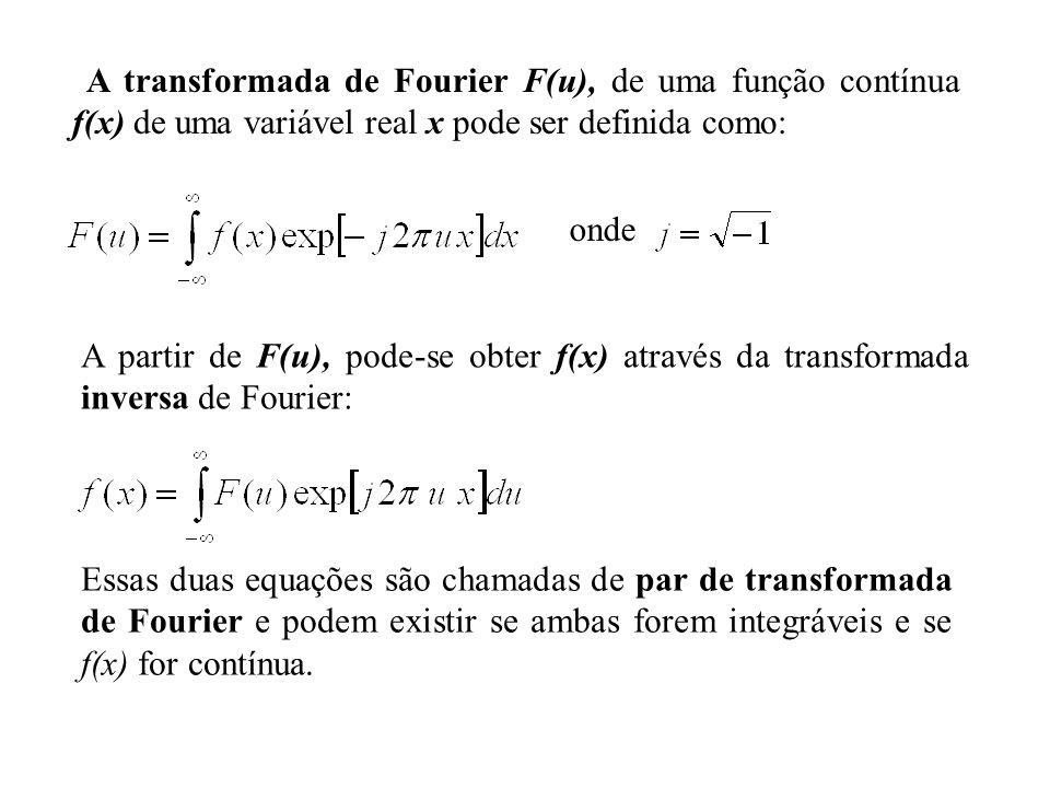 A transformada de Fourier F(u), de uma função contínua f(x) de uma variável real x pode ser definida como:
