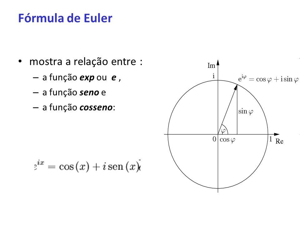 Fórmula de Euler mostra a relação entre : a função exp ou e ,